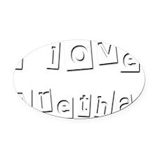 I Love Aretha Oval Car Magnet