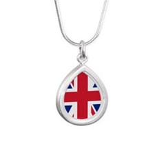 Union Jack Silver Teardrop Necklace
