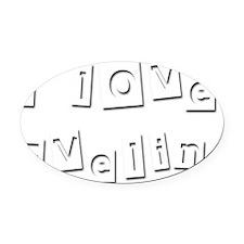I Love Evelin Oval Car Magnet