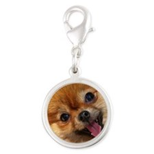 Happy Pomeranian Silver Round Charm