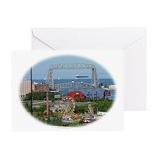 The Duluth Aerial Lift Bridge, a car Greeting Card