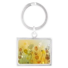 Abstract flowers Landscape Keychain