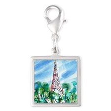 Eiffel Tower Silver Square Charm