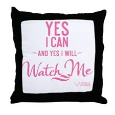 tshirt pink transparent Yes I can and Throw Pillow