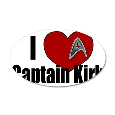 I Love Captain Kirk 35x21 Oval Wall Decal