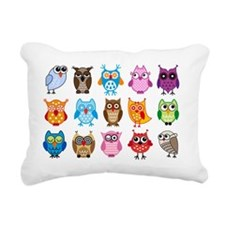 Colorful cute owls Rectangular Canvas Pillow