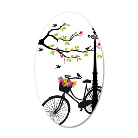 Old bicycle with lamp, flowe 35x21 Oval Wall Decal