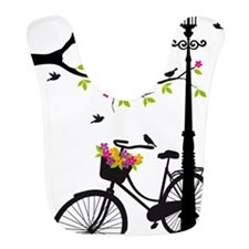 Old bicycle with lamp, flower basket, birds, t Bib