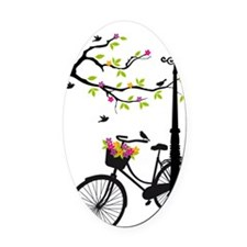 Old bicycle with lamp, flower bask Oval Car Magnet