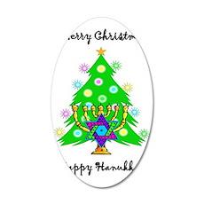 Christmas Hanukkah Interfait 35x21 Oval Wall Decal