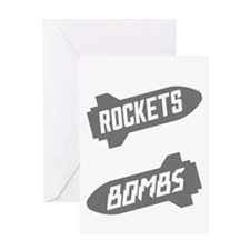 Black Rockets Not Bombs Shirt Art Greeting Card