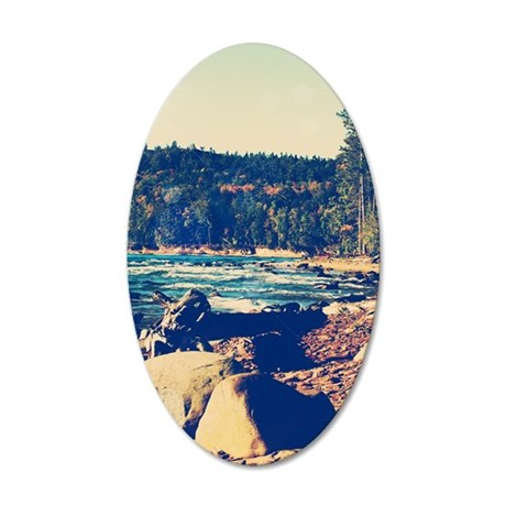 Rocky Shores of Lake Superio 35x21 Oval Wall Decal
