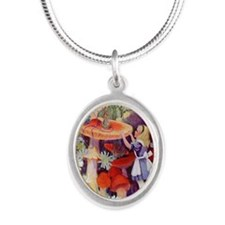 Alice and the caterpillar_10x Silver Oval Necklace