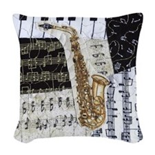 0555-sq-sax Woven Throw Pillow
