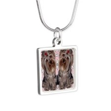 Yorkie flip flops Silver Square Necklace