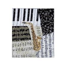 0555-ipad-sax Throw Blanket