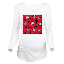 MariMek_RedBlack_Lar Long Sleeve Maternity T-Shirt