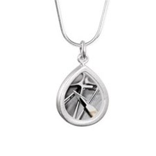 Surgical tools Silver Teardrop Necklace