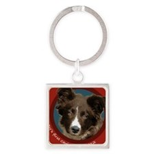 Border Collie Puppy Square Keychain