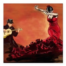 "Flamenco Dancer and Guit Square Car Magnet 3"" x 3"""