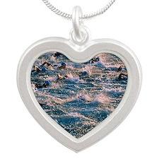 Triathlon swimmers Silver Heart Necklace