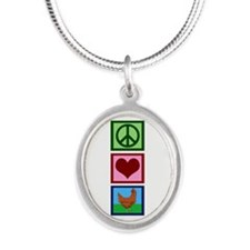 Peace Love Chickens Silver Oval Necklace