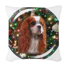 Blenheim Cavalier Christmas Ba Woven Throw Pillow