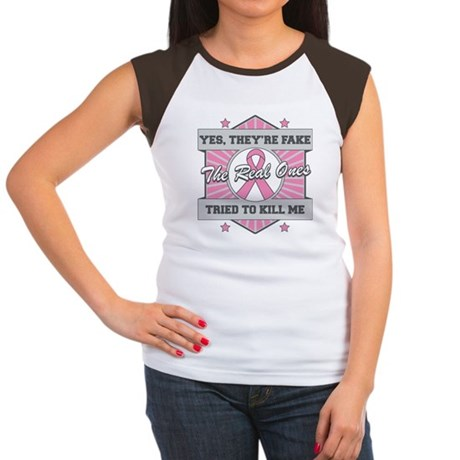Breast Cancer YesTheyAreFake Women's Cap Sleeve T-
