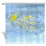Ripple Jellyfish Watercolor Shower Curtain