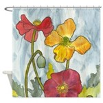 Poppies Watercolor Shower Curtain