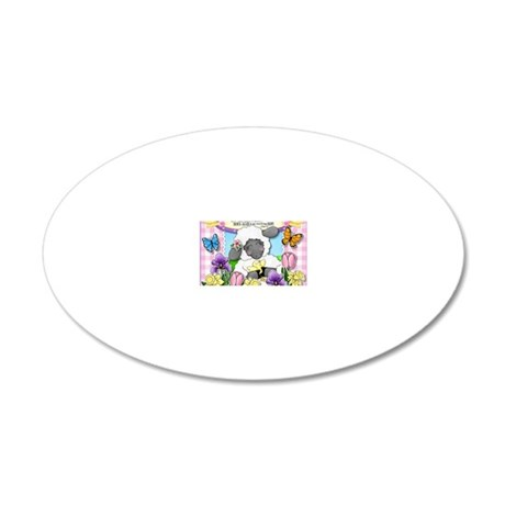 Cuddly Sweet Sheep 20x12 Oval Wall Decal