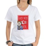 LNG logo & Jack the Late Nite Women's V-Neck T-Shi