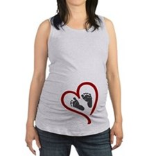 Baby Heart Feet Red Maternity Tank Top