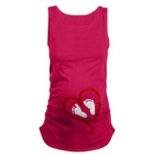 Baby Feet Heart Red Maternity Tank Top