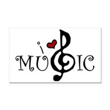 I Love Music Rectangle Car Magnet