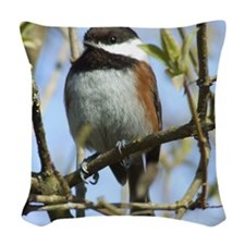 BlackCappedChickadeeSquare Woven Throw Pillow