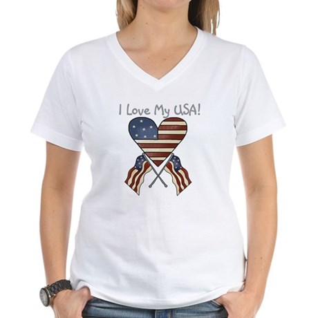 I Love My USA Women's V-Neck T-Shirt