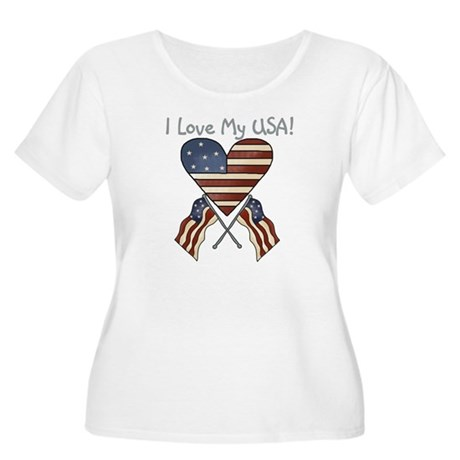 I Love My USA Women's Plus Size Scoop Neck T-Shirt