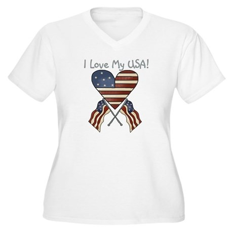 I Love My USA Women's Plus Size V-Neck T-Shirt
