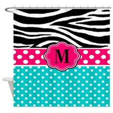 Pink Blue Dots Zebra Monogram Shower Curtain