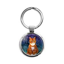 Orange Tabby Cat Snowflake Ornament Round Keychain
