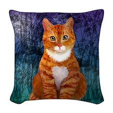 Orange Tabby Cat Snowflake Orn Woven Throw Pillow