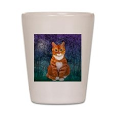 Orange Tabby Cat Snowflake Ornament Shot Glass