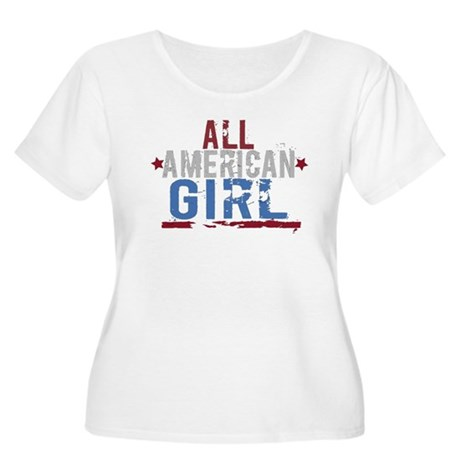 All American Girl Women's Plus Size Scoop Neck T-S