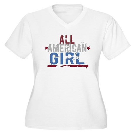 All American Girl Women's Plus Size V-Neck T-Shirt