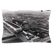 Aerial view of Chernobyl power station Pillow Case