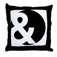 Ampersand Circle Black Throw Pillow