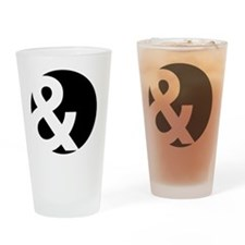 Ampersand Circle Black Drinking Glass