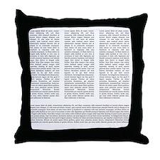 Lorem Ipsum 3-Col Black Throw Pillow