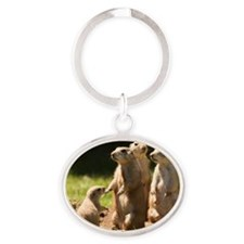 Black-tailed prairie dogs Oval Keychain